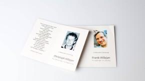 Trauerkarten - Die Karten zeigen zwei Brüder, die infolge von Rauschgiftmißbrauch verstorben sind.